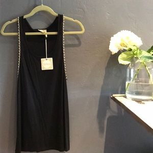 Black Alythea Tank with Gold Chain Detailing NWT